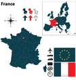 France and European Union map vector image vector image