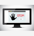 Stop title on computer screen vector image
