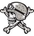 Skull Bones Bike Helmet Side Retro vector image vector image