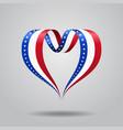 american flag heart-shaped ribbon vector image