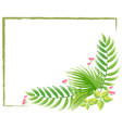border template with watercolor painting of leaves vector image
