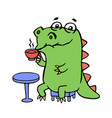Cute dinosaur sitting in a cafe vector image
