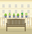 Empty Wooden Park Chair At Balcony vector image