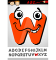 funny letter w cartoon vector image