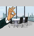gesture ok on office background vector image