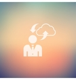 Man with cloud upload and download in flat style vector image