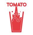 Tomato juice glass Spray fresh tomato juice vector image