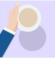 Coffee cup in female hand on purple background vector image
