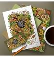 Cartoon doodles japanese food corporate identity vector image