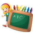 A young girl beside a blackboard and crayons vector image