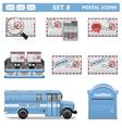 Postal Icons Set 8 vector image