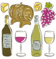 set of glasses and bottles for wine vector image