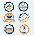 BBQ seafood steak labels icons badges template set vector image