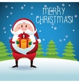 Merry Christmas concept with santa and pine tree vector image