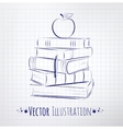 Apple on a pile of books vector image