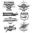 aviation badges avia club emblems vector image