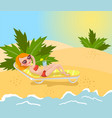beautiful brunette woman in red bikini lying on vector image