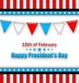 Brochure with Bunting Flags for Happy Presidents vector image