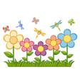butterflies and dragonflies in flower garden vector image