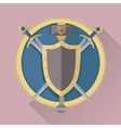 Cartoon Game Swords with Shadow in Golden Circle vector image