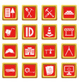 construction icons set red vector image