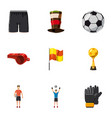 football equipment icons set cartoon style vector image