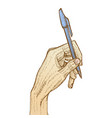 hand holding pen vector image