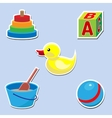 Icon set of toys for baby vector image