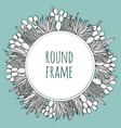 round succulent cactus outline frame vector image