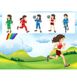 Woman doing different kinds of sports vector image vector image