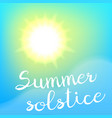 Summer solstice poster vector image