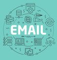 green line flat circle email vector image
