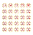 Red mail icons vector image