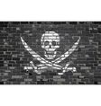 Pirate flag on a brick wall vector image