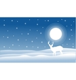 Christmas landscape deer with full snow vector image