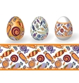 Easter Set of Isolated Easter eggs and seamless vector image