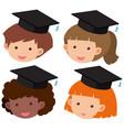four kids wearing graduation hat vector image