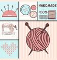 handmade needlework craft badges sewing banners vector image