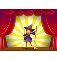 A witch at the stage with a red curtain vector image