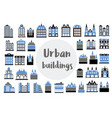 set of flat icons of city building hotels vector image