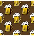 Beer tankards seamless pattern vector image
