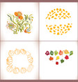 floral set with leav vector image