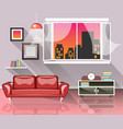 living room interior with window vector image