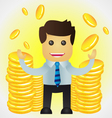 Successful business man with stacks of gold coins vector image