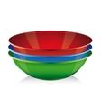 Bowl set - red blue green vector image