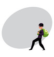 thief robber burglar trying to escape with a vector image vector image