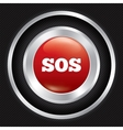 Sos button Metallic icon on Carbon background vector image
