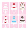 set of wedding cake vector image vector image