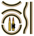 Bullet and machinegun cartridge belt vector image