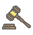 auction hammer filled outline icon business vector image